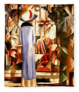 Woman In Front Of A Large Illuminated Window Fleece Blanket