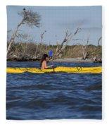 Woman Kayaking Fleece Blanket