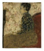Woman Sitting By The Fireside Fleece Blanket