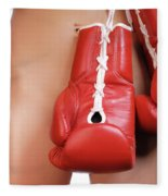 Woman With Boxing Gloves Fleece Blanket