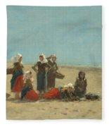 Women On The Beach At Berck Fleece Blanket