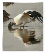 Wood Stork Winging It Fleece Blanket