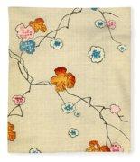 Woodblock Print Of Fall Leaves Fleece Blanket
