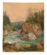 Wooded River Landscape In The Alps Fleece Blanket