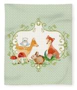 Woodland Fairytale - Animals Deer Owl Fox Bunny N Mushrooms Fleece Blanket