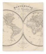 World Map In Two Hemispheres Fleece Blanket