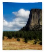 Wyoming's Devil's Tower Fleece Blanket