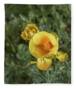 Yellow And Orange Poppy Fleece Blanket