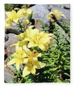 Yellow Day Lillies Fleece Blanket