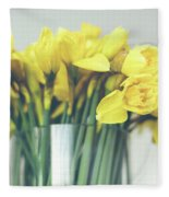 Yellow Narcissuses Bouquet In A Glass Vase Fleece Blanket