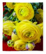 Yellow Ranunculus Fleece Blanket