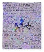 Yoga Asanas / Poses Sanskrit Word Art  Fleece Blanket