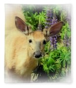 Young Buck Among The Lupin Fleece Blanket