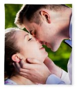 Young Romantic Couple Kissing With Love In Summer Park Fleece Blanket