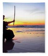 Young Samurai Women With Japanese Katana Sword At Sunset On The Beach Fleece Blanket
