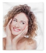 Young Smiling Woman With Curly Hair Portrait On White Fleece Blanket
