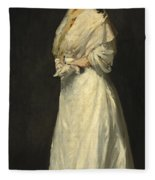 Young Woman In White Fleece Blanket