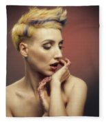 Young Woman With Glittered Fingers And Lips Fleece Blanket