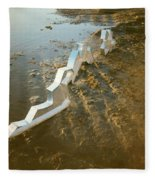 Zinc Sculptures On The Beach At Sunset Fleece Blanket
