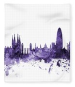 Barcelona Spain Skyline Fleece Blanket
