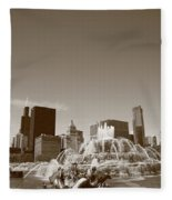 Chicago Skyline And Buckingham Fountain Fleece Blanket