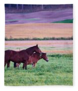 Horses Of The Fall Fleece Blanket