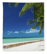 Main Beach Of Tropical Paradise Boracay Island Philippines Fleece Blanket