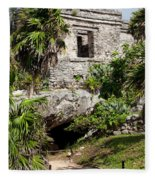 Mayan Temples At Tulum, Mexico Fleece Blanket
