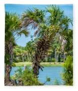 Palmetto Forest On Hunting Island Beach Fleece Blanket