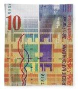 10 Swiss Franc Bill Fleece Blanket