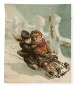 Vintage Christmas Card Fleece Blanket