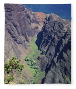 100173 Awaawapuhi Vally Na Pali Coast Fleece Blanket