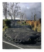 100925 Lava Flow On Road Hi Fleece Blanket