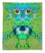 1045   Flower Owl 2017 Fleece Blanket