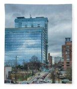Atlanta Downtown Skyline Scenes In January On Cloudy Day Fleece Blanket
