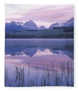 Reflection Of Mountains In A Lake Fleece Blanket