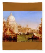 selous Henry Courtney A View Along The Grand Canal With Santa Maria Della Salute Henry Courtney Selous Fleece Blanket