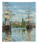 Ships Riding On The Seine At Rouen Fleece Blanket
