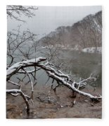 The Bass River In Winter Fleece Blanket