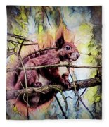 11452 Red Squirrel Sketch Square Fleece Blanket