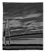 Ravenel Bridge Black And White Sunset Fleece Blanket