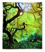 12 Abstract Japanese Maple Tree Fleece Blanket