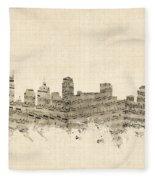 Nashville Tennessee Skyline Fleece Blanket