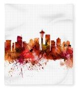 Seattle Washington Skyline Fleece Blanket
