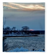 Sunset Over Obear Park In Snow Fleece Blanket