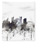 Sydney Australia Skyline Fleece Blanket