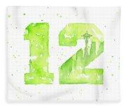 12th Man Seahawks Art Go Hawks Fleece Blanket