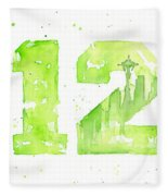 12th Man Seahawks Art Go Hawks Fleece Blanket