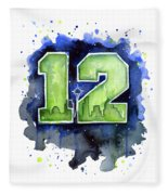 12th Man Seahawks Art Seattle Go Hawks Fleece Blanket