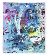Abstract Calligraphy Fleece Blanket